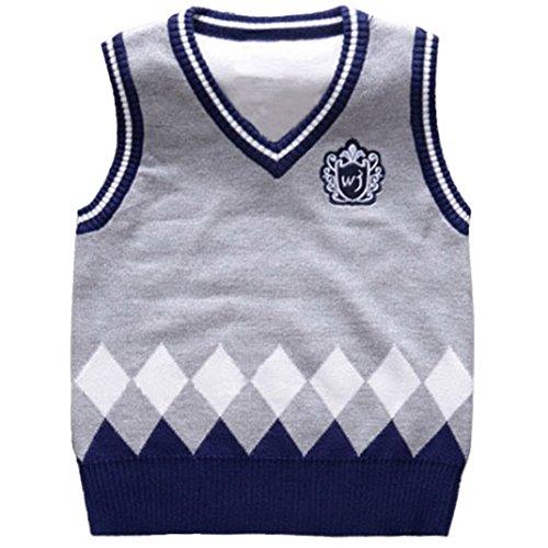 Happy Cherry Kids V Neck Sweater Vest Knit Cable Argyle Waistcoat Gray 3T
