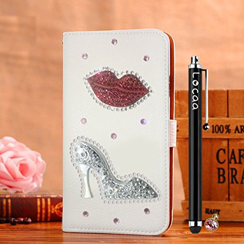 Locaa(TM) For Nokia Lumia 1520 Nokia1520 Lumia1520 3D Bling Case + Touch stylus + Anti-dust ear plug Deluxe Luxury Crystal Pearl Diamond Rhinestone eye-catching Beautiful Leather Retro Support bumper Cover Card Holder Wallet Cases -[General series] flaming lips