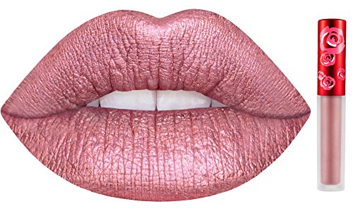 Lipstick Red Rose Petal - Lime Crime Metallic Velvetines Liquid Matte Lipstick - Happi