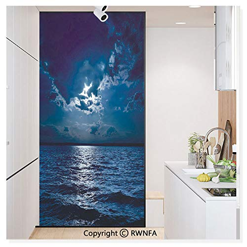 Decorative Window Film,Majestic Dramatic Sky Clouds and Full Moon Over Seascape Calm Tranquil Ocean Static Cling Glass Film,No Glue/Anti UV Window Paper for Bathroom,Office,Meeting Room,Bedroom,Dark