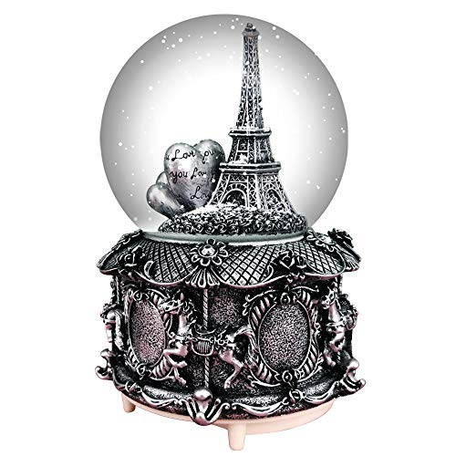 - HIKEL Paris Snow Musical Globes Retro Eiffel Tower and Carousel Base Water Globe for Birthday Gifts Kids Girls Gift Creative Desktop Decoration (Silver)