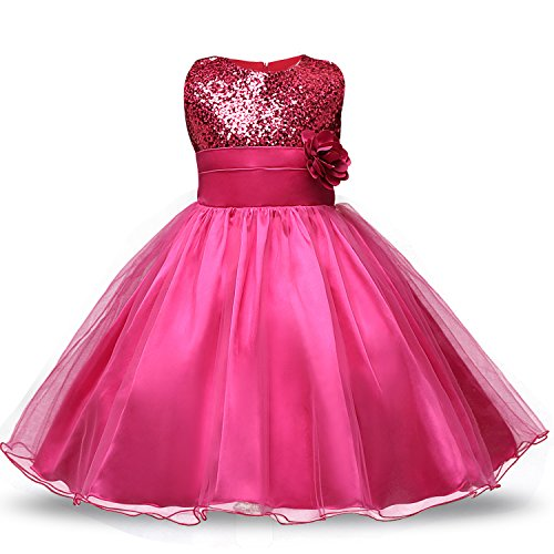 NNJXD Girl Flower Sequin Princess Tutu Tulle Baby Party Dress Size 5-6 Years Rose red