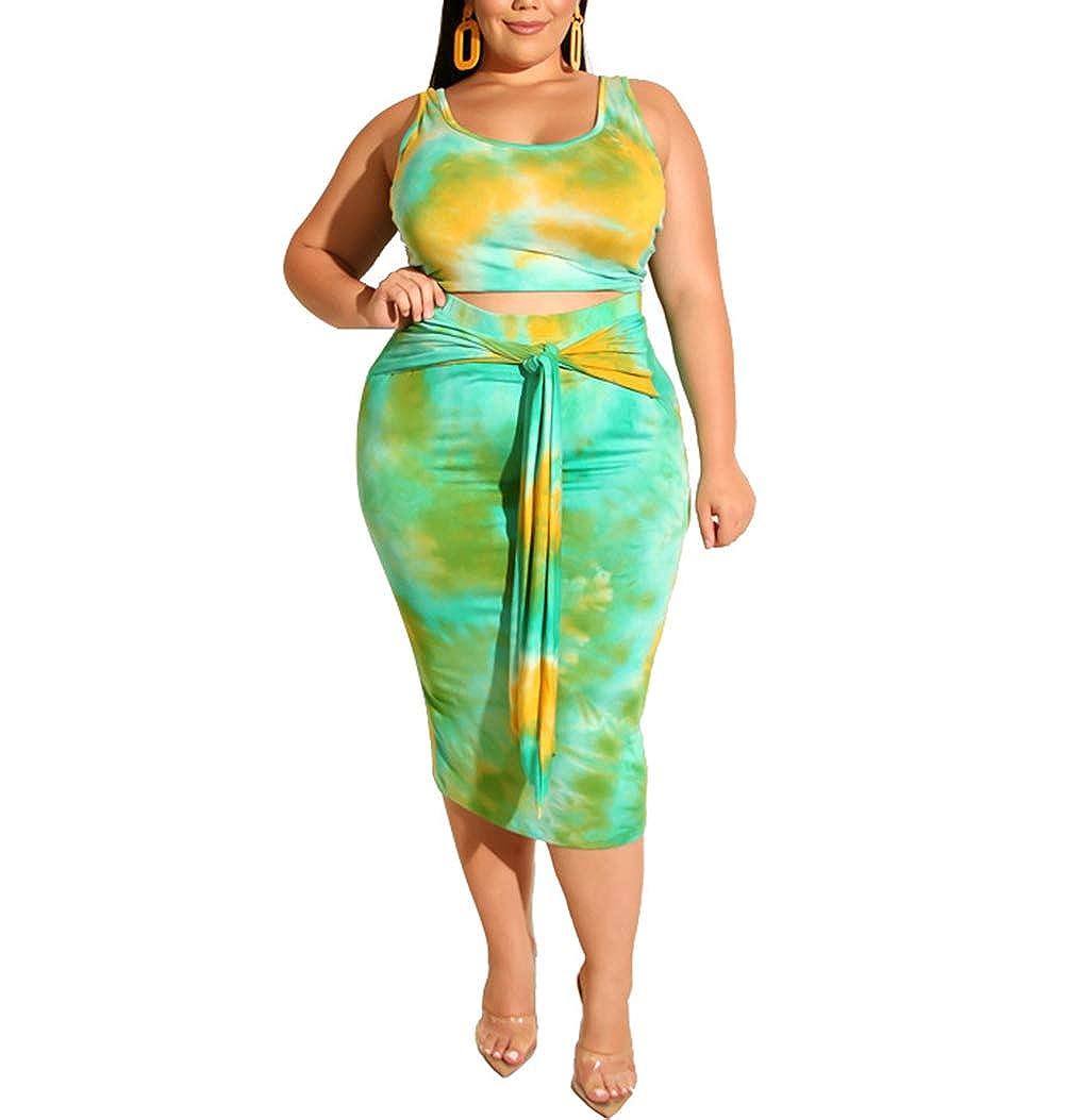 ECHOINE Women Plus Size Dress -2 Piece Tie Dye Print Midi Dresses Outfits  Tank Crop Tops Bodycon Skirt Sets