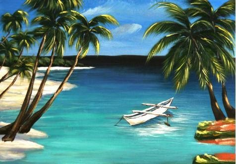 The High Quality Polyster Canvas Of Oil Painting 'Landscape Of Beach With Coconut Trees And A Small Boat' ,size: 12x17 Inch / 30x44 Cm ,this High Quality Art Decorative Prints On Canvas Is Fit For Dining Room Gallery Art And Home Decor And Gifts