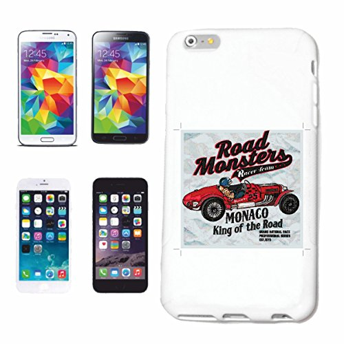 "cas de téléphone iPhone 7 ""ROAD MONSTER MONACO KING DE LA ROUTE HOTROD HOT ROD CAR US Mucle CAR V8 ROUTE 66 USA AMÉRIQUE"" Hard Case Cover Téléphone Covers Smart Cover pour Apple iPhone en blanc"