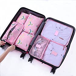 7Pcs Waterproof Travel Storage Bags Clothes Packing Cube Luggage Organizer Pouch (Rainbow Bear)
