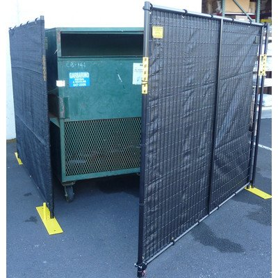 - Crowd Control Temporary Fence Panel Kit - Perimeter Patrol Dumpster Enclosure (4 sides) - Includes black screen mesh for blocking unsightly dumpsters or trash areas. 7.5'W x 6'H - 4 Panel Kit Black