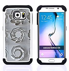 """Samsung Galaxy S6 / SM-G920 - 3 en 1 impreso colorido de Altas Prestaciones PC Funda chaqueta Negro cubierta gel silicona suave (Patrón 3D Arte Plástico Blanco Limpio"""")"""