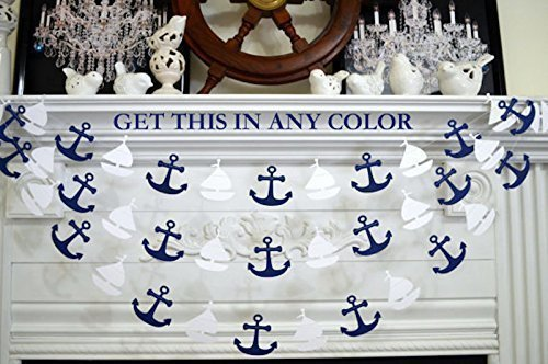 Sailboat and anchor garland, nautical banner garland decor, nautical birthday, white sailboats navy anchors baby shower (Sailboat Baby Shower)