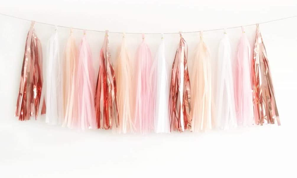 Aimto 20PCS Shiny Tassel Garland Tissue Paper Tassel Banner,Table Decor,Tassels Party Decor Supplies - Rose Gold/Peach Color/Light Pink/White