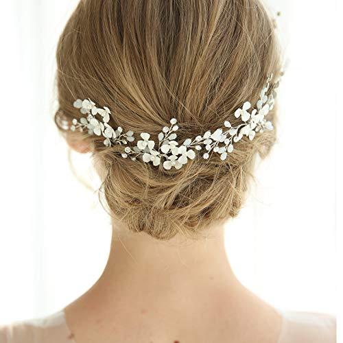 SWEETV Silver Wedding Hair Pins Crystal Flower Bridal Hair Jewelry Wedding Hair Pieces for Brides and Bridesmaid(Pack of 3)