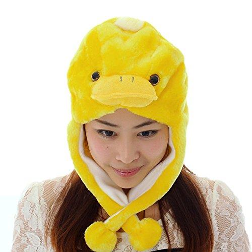 JOYHY Unisex Winter Plush Ear Flap Animal Hats Yellow Duckling (Duckling Costume)