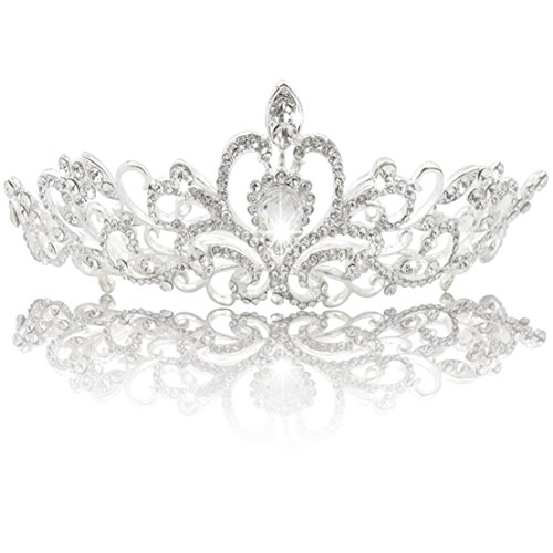 Jmkcoz Wedding Coronal Tiara Rhinestones Crystal Bridal Headband Pageant Silver Princess Crown
