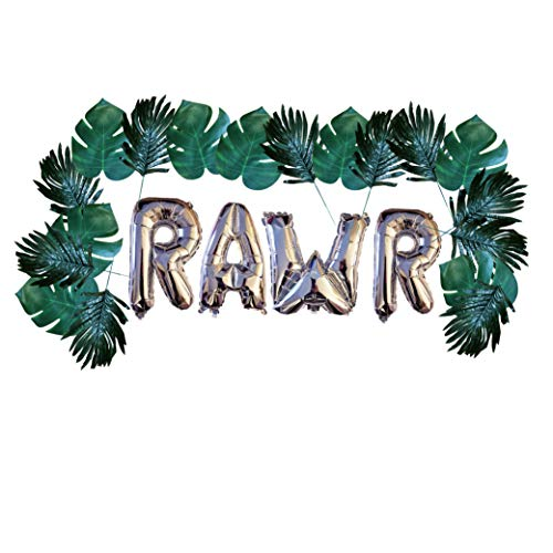 Balloons and Leave Garland 24 Tropical Leaves with Silver Mylar Balloons Party Decorations ()