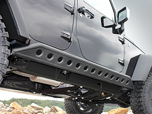 Restyling Factory 07-16 Jeep Wrangler Jk Black Textured Body Side Armor Rocker Guard Rock Sliders 4 Door Tube (Black)