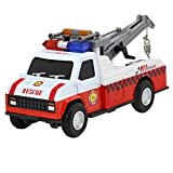 1:28 Alloy Police Car Rescue Crane/Fire Engine Rescue Crane Truck Scaled Model Die-cast Car Toy With Light and Sound for Kids Boys Girls Age Over 3 Years Old Birthday Christmas Gift, Fire Rescue Crane