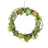 Mkono Artificial Living Succulent Wreath Sweet Garden 12 Inch
