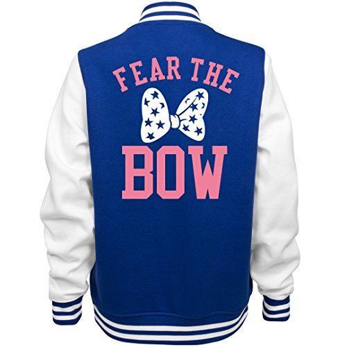 Customized Girl Fear The Bow Cheer Jacket: Ladies Fleece Letterman Varsity Jacket for $<!--$53.97-->
