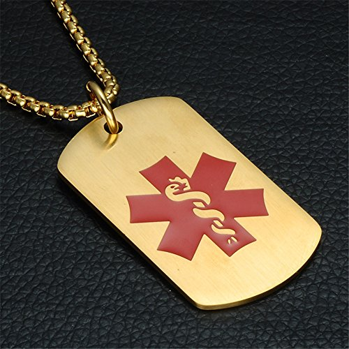 Comfybuy CF Free Engraving Blank Stainless Steel Medical Alert Disease Awareness Identification Necklace Gold Military Dog Tag Pendant,Emergency SOS Daily Life Saver for Kids,Grandpa,Grandma,Parents by Comfybuy (Image #4)