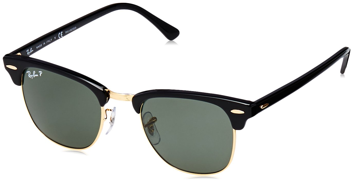 RAY-BAN RB3016 Clubmaster Square Sunglasses, Black/Polarized Green, 49 mm by RAY-BAN