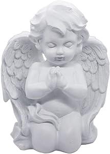 "Kneeling Praying Cherub Angel Statue Figurine Indoor Outdoor Home Garden Guardian Decorative Church Wings Angel Statue Sculpture Memorial Statue, White, 6.25"" x 5"""