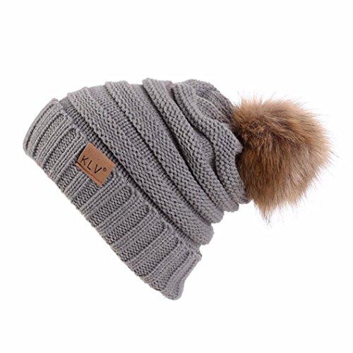 RNTOP Men Women Baggy Warm Venonat Crochet Winter Wool Knit Ski Beanie Skull Slouchy Caps Hat (Gray) -