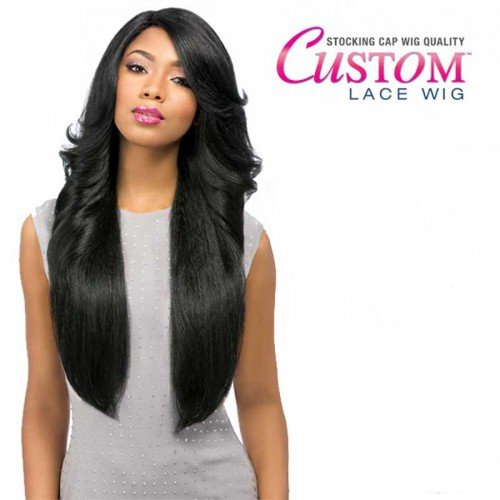 [[Lace Front Wig]Sensationnel Empress Synthetic Custom Lace Front Edge Wig-Perm Wedge-New (1B)] (Perm Wigs)