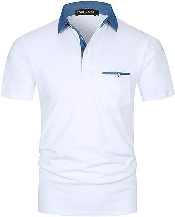GHYUGR Polos Manga Corta Hombre Costura de Mezclilla Denim Camisas ...