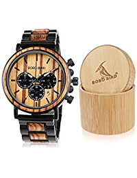 BOBO BIRD CP09 Wooden Mens Watch Top Brand Luxury Stylish Watch Wood & Stainless Steel Chronograph Military Quartz Watch Best Gift