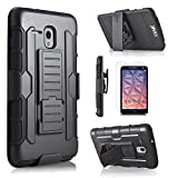 Alcatel One Touch Fierce XL Case, Starshop [Heavy Duty] Dual Layers Kickstand Case With [0.33m 9H Tempered Glass Screen Protector Included] and Locking Belt Clip (Black)