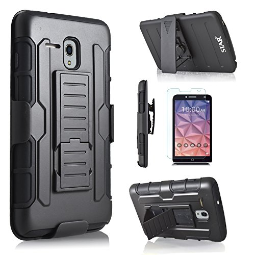 Alcatel One Touch Fierce XL / Alcatel OneTouch Flint / Alcatel OneTouch Pixi Glory LTE Case, Starshop [Dual Layers] Kickstand With [Premium Screen Protector] Locking Belt Clip (Black)