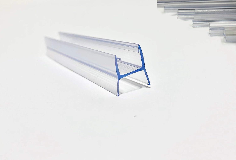 Juntas de plastico para Cortina de Cristal | Se adapta a todo tipo de Cerramiento de Terraza | En forma de (H) | Largo de 2500 mm | Para vidrio de 10 mm (4 unidades, largo de 2500 mm)