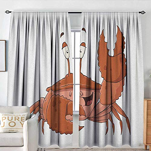 Single Nipper (Crabs Indoor/Outdoor Single Panel Print Window Curtain Friendly Chela Arthropod Waving His Nipper Greeting with a Big Smile Funny Creature Room Darkening Thermal W 120