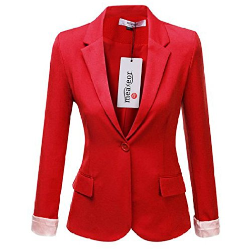 Cotton Blend Blazer (Meaneor Women's Casual Work Solid Candy Color Blazer Red M)