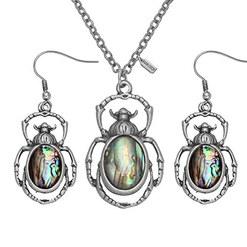 MANZHEN Antique Bronze Abalone Shell Bug Wildlife Necklace Scarab Earring Woodland Animal Jewelry Set (Antique Silver-Set)