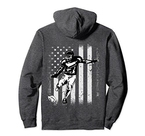 (Unisex Vintage USA American Flag American Football Player Hoodie Small Dark Heather)