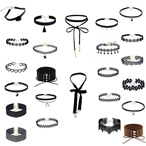 MingJun 24Pcs Black Velvet Lace Choker Tattoo Telescopic Type Casual Black Set with Ribbon Pendant Made From (Made Outfit)