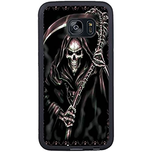 Galaxy S7 Edge Case,Grim Reaper Goth Handmade Black Premium Hybrid High Impact *Shock Absorbent* Defender Case Sales