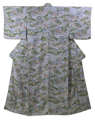ペインティング甥楽しいリサイクル 着物 小紋 江戸の町並み 正絹 袷 裄64cm 身丈164cm