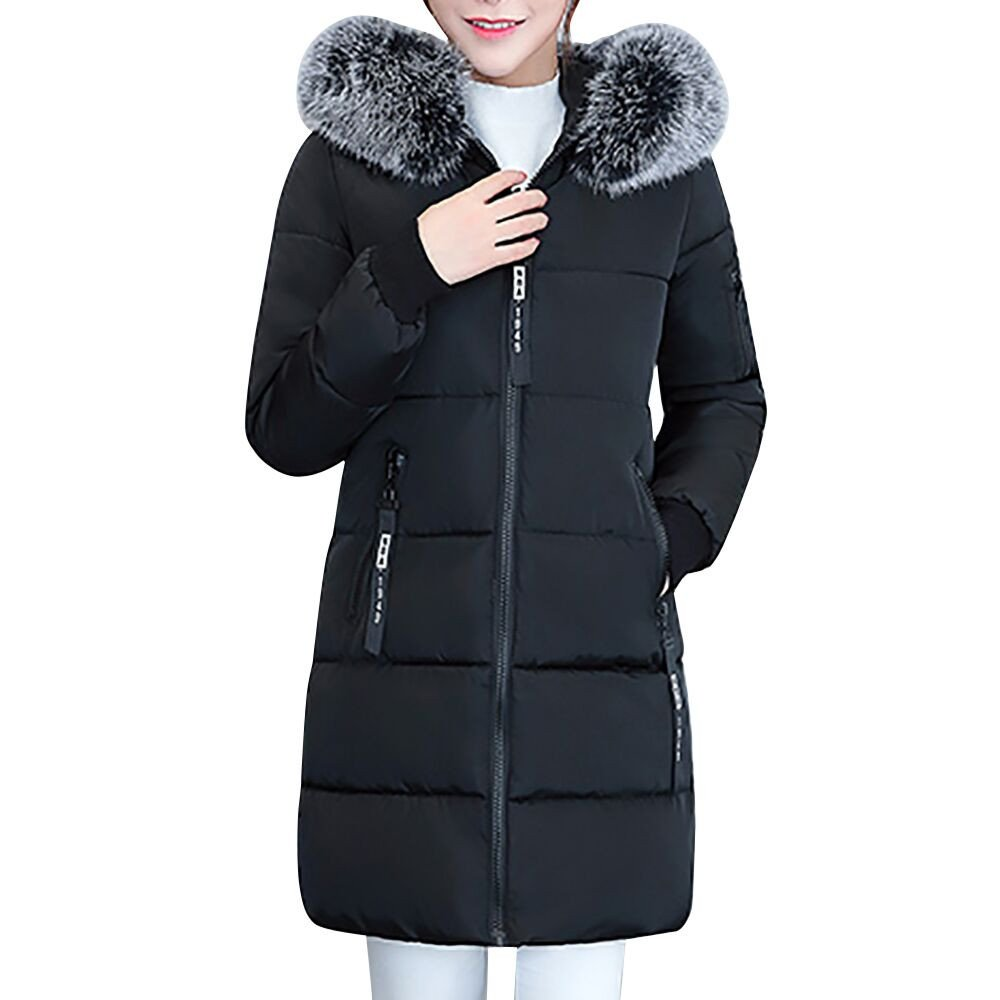 GOVOW Solid Color Overcoat for Women Winter Jacket Warm Slim Thicker Long Coat Parka Lammy Outwear(US:8/CN:M,Black)