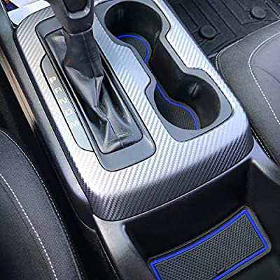 SENSHINE Cup Liner Fitted Liners for for Chevy Colorado and GMC Canyon 2020 2020 2020 2020 2016 2015 Center Console Liner Insert Accessories Kit Custom Fit(Blue Trim, Crew Cab): Automotive