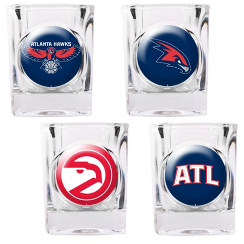 NBA Atlanta Hawks Four Piece Square Shot Glass Set (Individual Logos) (Piece Nba Square 4)