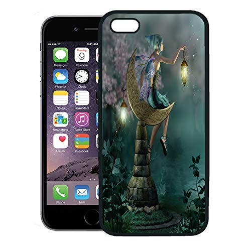 (Semtomn Phone Case for iPhone 8 Plus case,Green Fairy The Night Watch Blue Fairytale Wings Fantasy Magic Garden iPhone 7 Plus case Cover,Black)