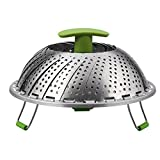 Vegetable Steamer Basket For Cooking Foods With Stainless Steel Strainer and Removable Handle, Expandable and Collapsible(7.1 inches to 11 inches,Black + Silvery) (Green)