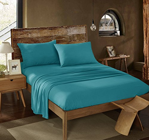 Euphoney Home 4pcs washed bedsheet sets deep pocket bedsheet set including bedsheet,fitted sheet and 2 pillow case super soft 1800TC Egyptian quality double brushed King size, Brown