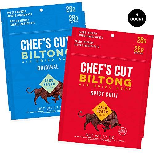 Chef's Cut Biltong Sampler, Original & Spicy Chili Biltong - Keto Jerky - Premium Cuts, Gluten & Nitrite Free - Paleo Friendly, 1.7 oz (Pack of 4)