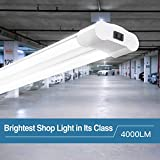 Amico 40W 4000LM 4FT Linkable LED Utility Shop Lights for Garage,Double Integrated LED Fixture UL and Energy Star,5000K Daylight, 100W Fluorescent Eq. Hanging light with Pull Chain Switch (1 Pack)