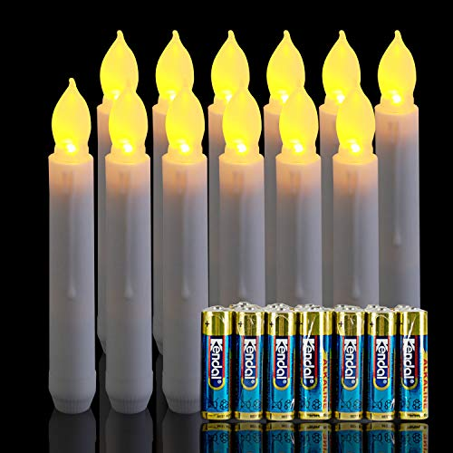Homemory 12 PCS Flameless LED Taper Candles with 24 PCS Batteries Included, Battery Operated Candlesticks in Warm Yellow Flickering Flame, Dia 0.8