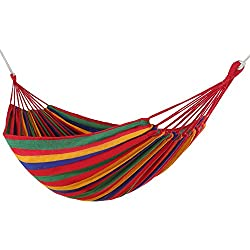 WolfWise Outdoor Leisure Double 2 Person Cotton Hammocks 450lbs Ultralight Camping Hammock Red