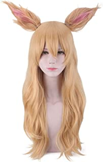 Hot Sale! Cosplay Wig,Women Cute Ears Wig Long Straight Blonde Gold Hair Extensions Anime Hairpieces (Gold)
